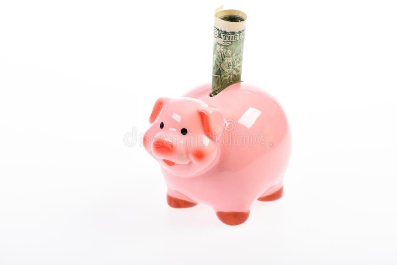 Geldeinsparung Sparschwein lokalisiert auf Weiß mit Dollarbanknote Einkommensmanagement Geld des globalen Gesch?fts Planungsbudge lizenzfreie stockbilder