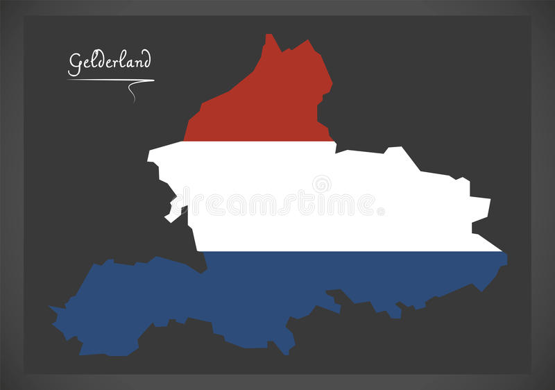 Gelderland Netherlands Map With Dutch National Flag Stock Vector