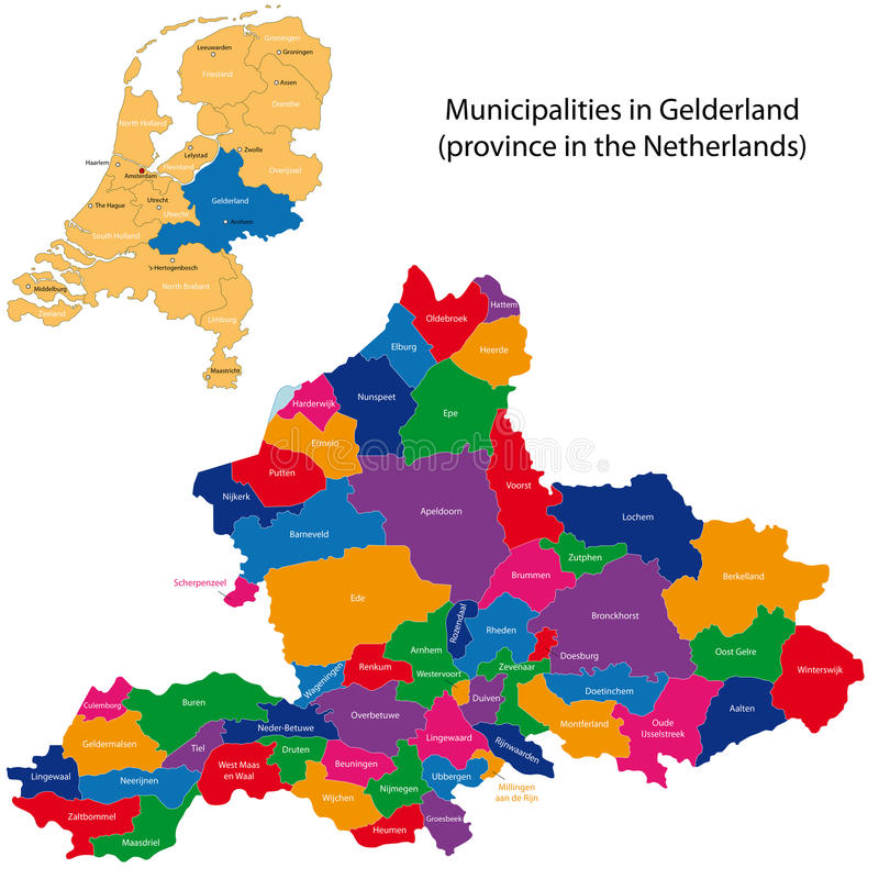 Gelderland - province of the Netherlands. Administrative division of the Netherlands. Map of Gelderland with municipalities royalty free illustration