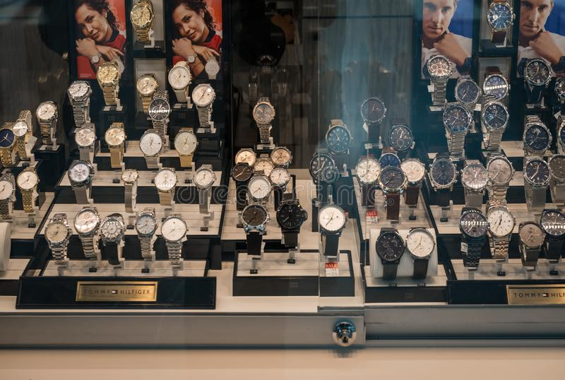 Gelderlandplein luxury watches in the window. Gelderlandplein shopping mall luxury watches in the window, Amsterdam the Netherlands 05/03/2019 stock image
