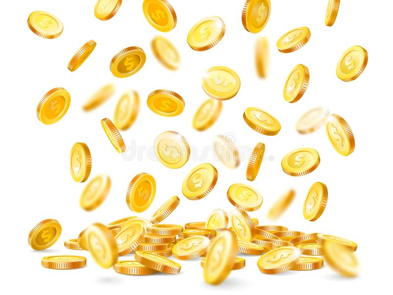 Geldexplosion Million Dollar, die Bargeldmünze, die unten, Goldkasino fällt, prägt Regen lokalisierte Vektorillustration stock abbildung