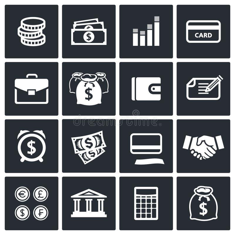 Geldfinanzikonen eingestellt lizenzfreie abbildung