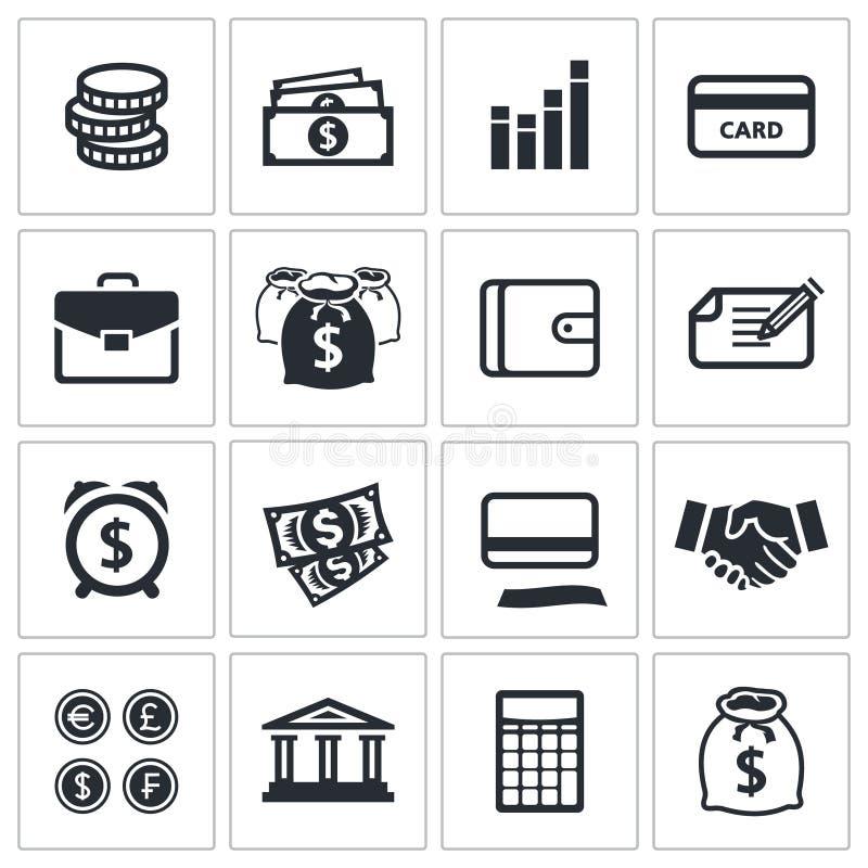 Geldfinanzikonensammlung vektor abbildung