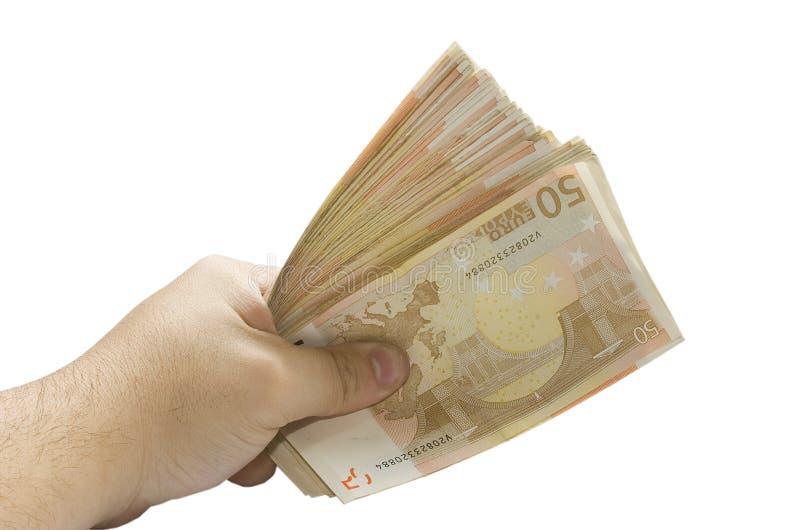 Geldfinanzquerneigungeuro stockfoto