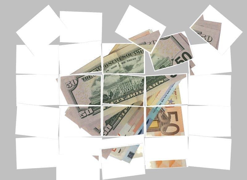 Geldfragmenten stock afbeeldingen