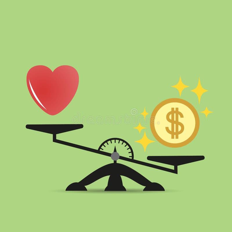Geldgewichte über dem Herzen Skalen zwischen Liebe und Geld Das Konzept der Habsucht, Gewinngeld ist wichtiger als Liebe Vektor stock abbildung