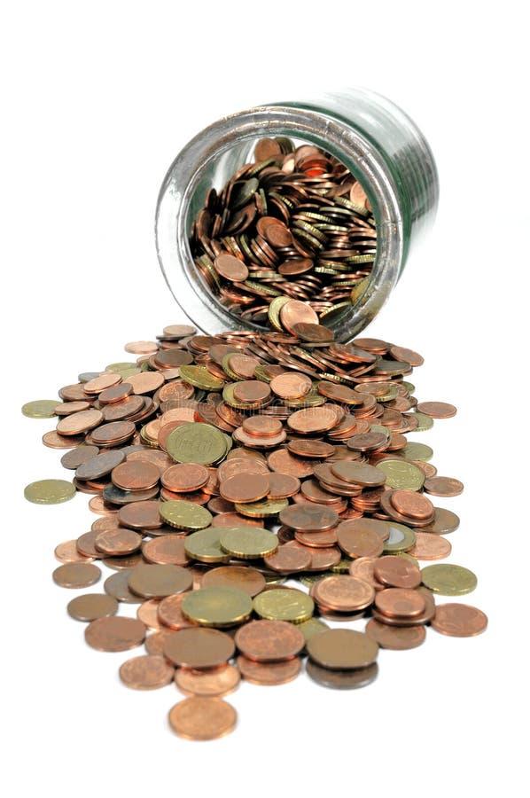 Geldglas mit Euromünzen stockfoto