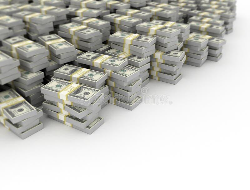 Geldhaufen auf weißem Hintergrund lizenzfreie abbildung