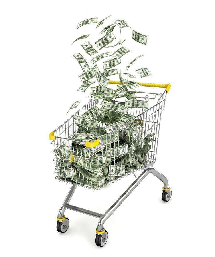 Geldkarretje Boodschappenwagentjehoogtepunt van geldrekeningen vector illustratie