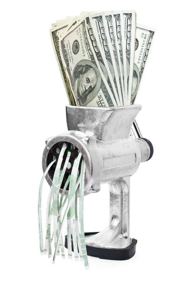 Geldkonzept. Dollar werden im Fleischwolf geprägt stockfotografie