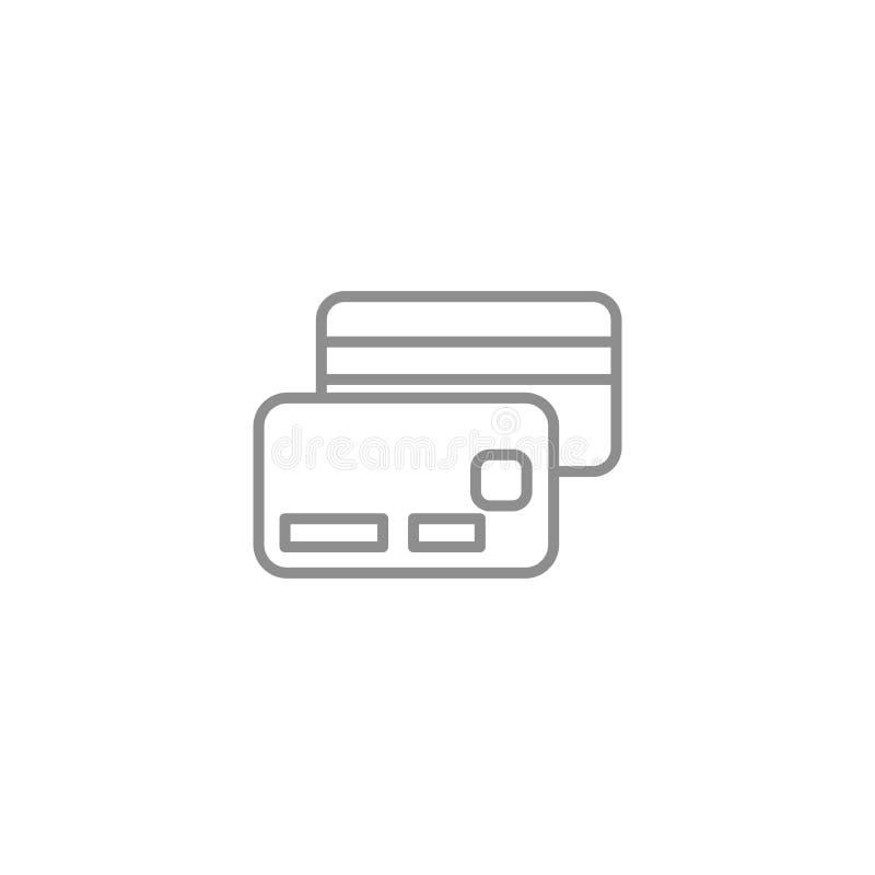 Geldkreditkartelinie verdünnen Ikone On-line-Einkaufszeichen-Vektorillustration Geschäft und Finanzvektor lizenzfreie abbildung