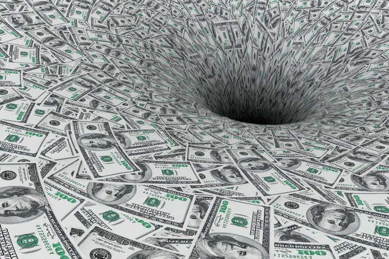 Geldlieferungswrack eigenhändig im Wasser Geldstrom in schwarzes Loch lizenzfreies stockfoto