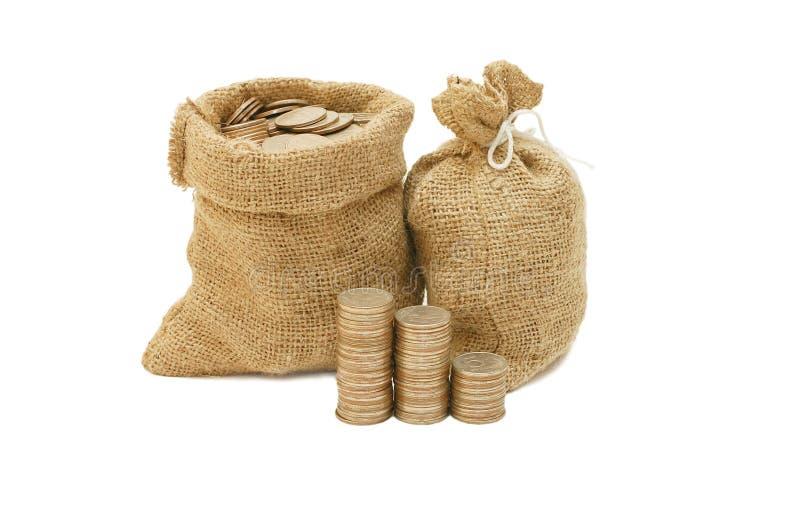 Download Geldmünzen im Beutel stockfoto. Bild von finanziell, nachrichten - 12200964