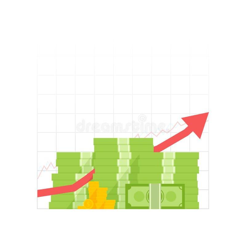 Geldmengenwachstumsikone Häufen Sie Dollar und Goldmünzen mit hohem Pfeil an Auch im corel abgehobenen Betrag vektor abbildung