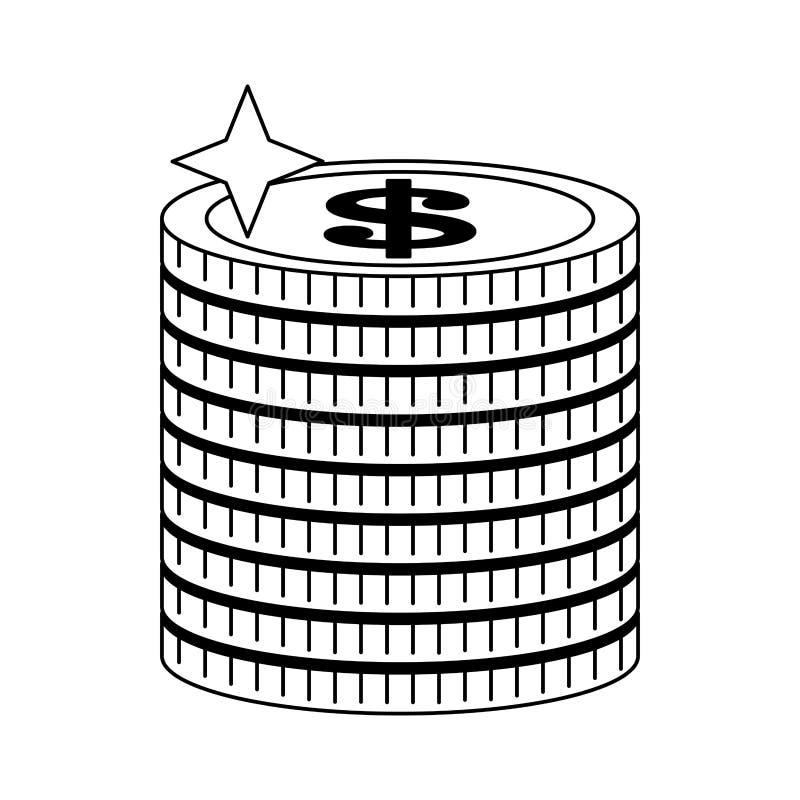 Geldmuntstukken omhoog in zwart-wit worden opgestapeld die stock illustratie
