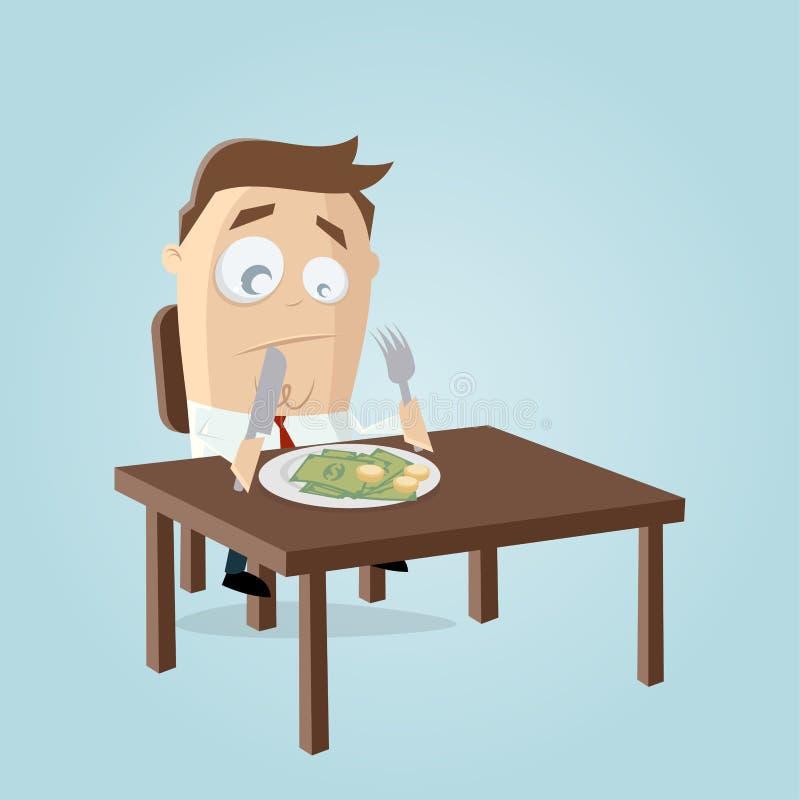 Funny cartoon illustration of a rich businessman who has to eat his money. Cartoon illustration of a rich businessman who has to eat his money stock illustration