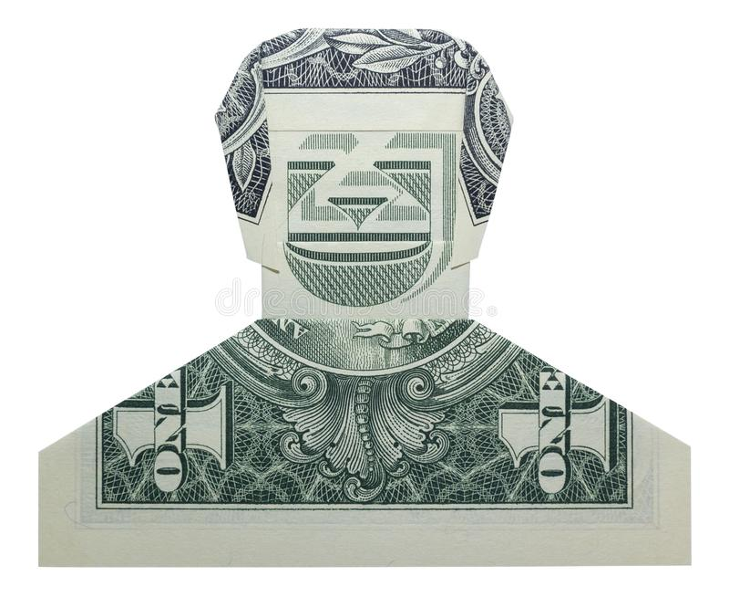 Geldorigami die DUDE Man Face Real One-Dollar Bill Isolated op Witte Achtergrond glimlachen stock afbeeldingen