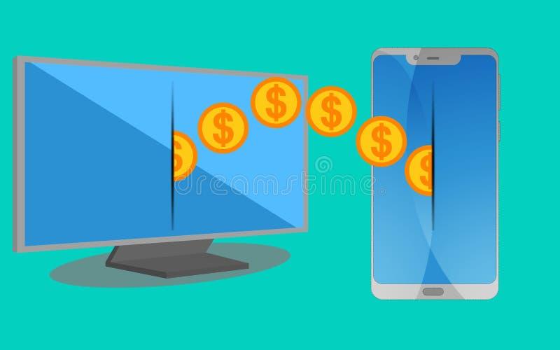 Geldoverdracht die mobiel apparaat met behulp van vector illustratie