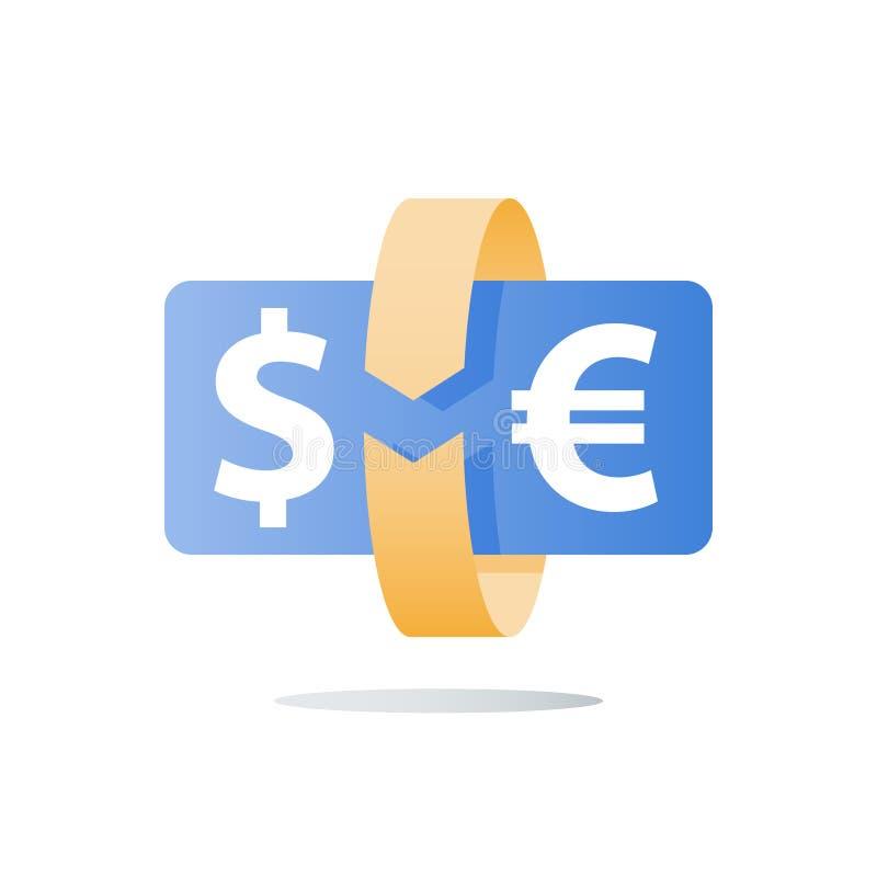 Geldoverdracht, muntuitwisseling, investeringsterugkeer, financieel kapitaal, terugbetalingsconcept, cirkelpijl, onmiddellijke be royalty-vrije illustratie