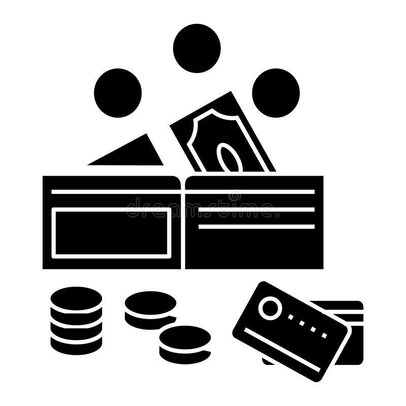 Geldpictogram, vectorillustratie, teken op geïsoleerde achtergrond stock illustratie