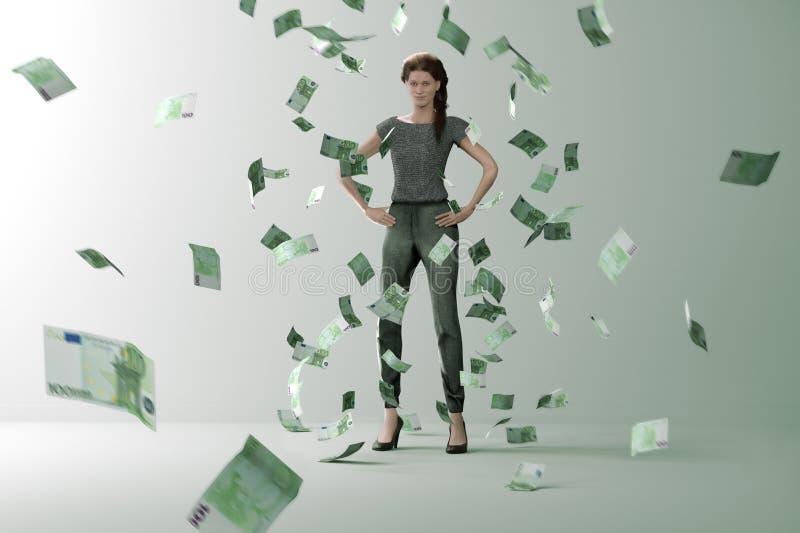 Geldregen op succesvolle vrouw royalty-vrije illustratie