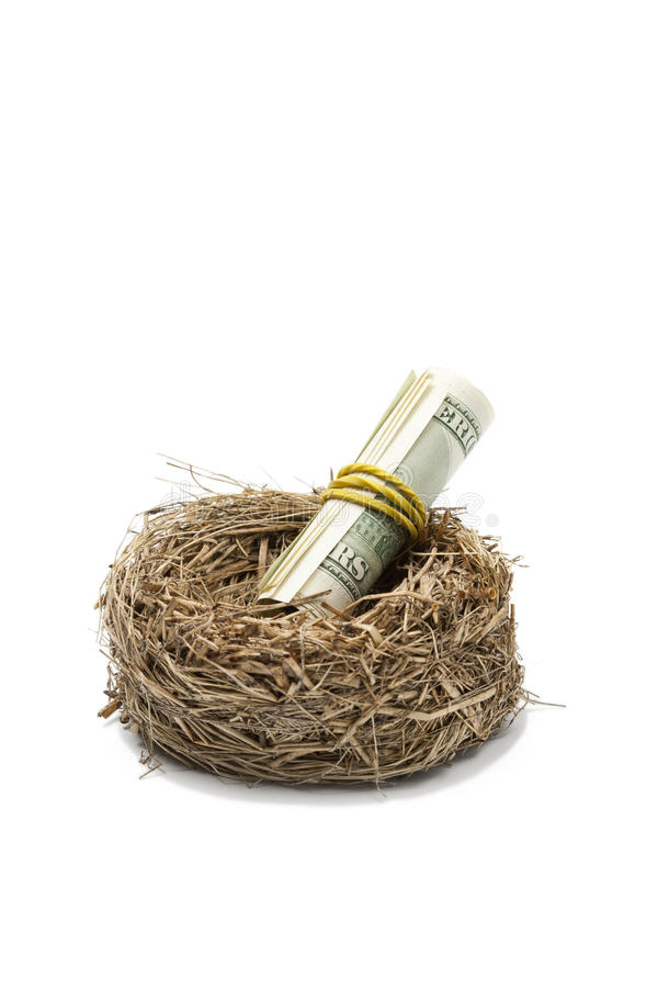 Geldrolle im Nest auf Weiß lizenzfreie stockfotos