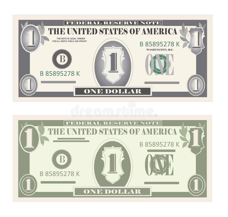 Geldsatz, Papierbanknoten ein Dollar vektor abbildung