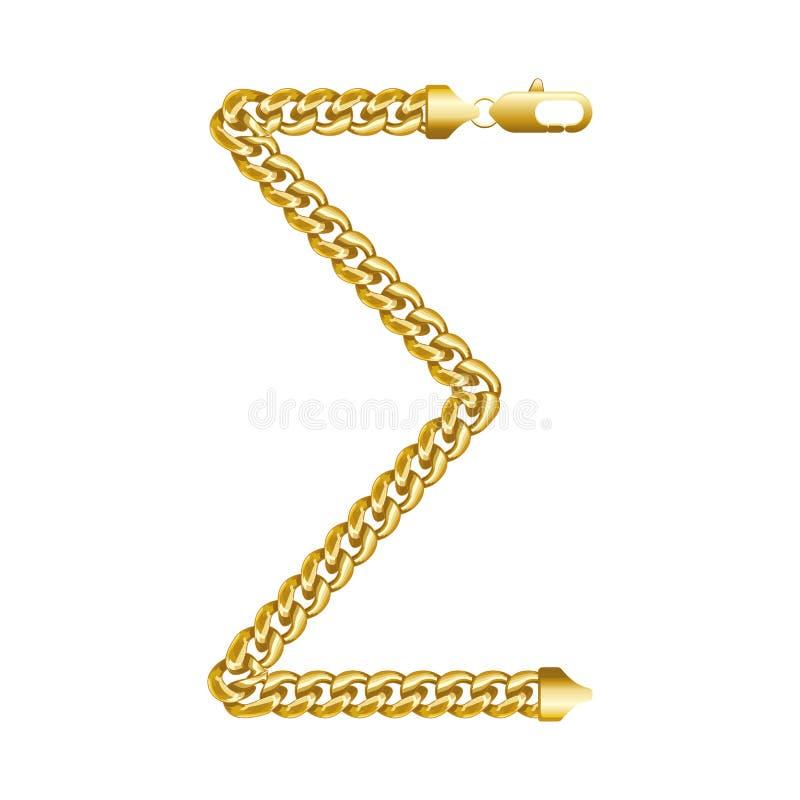 Geldsummenrechnungs-Goldkettenikone lizenzfreie stockbilder
