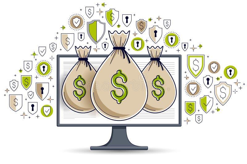 Geldtasche ?ber Computermonitor- und -schildikonensatz, Online-Banking oder Buchhaltungsdatenschutzkonzept, Internet elektronisch lizenzfreie abbildung
