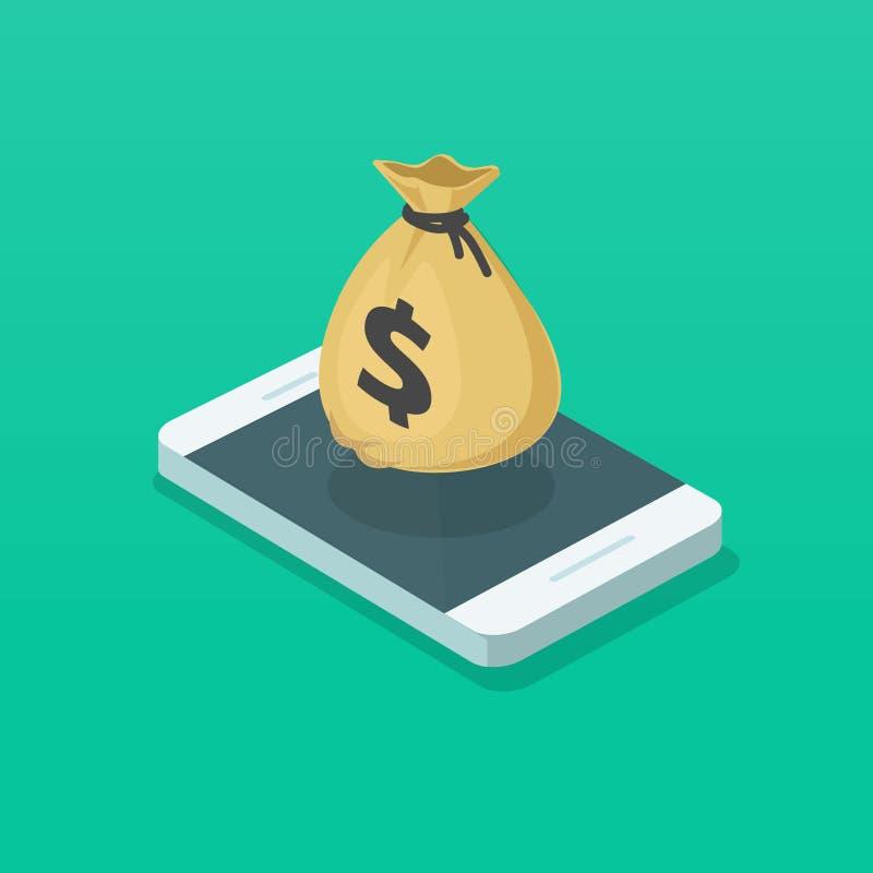 Geldtasche und -Handy vector Illustration, isometrischen Smartphone 3d und Bargeldtasche, Konzept elektronischer Geldbörsen-APP vektor abbildung