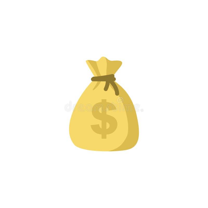 Geldtaschen-Vektorikone, flache einfache Karikaturillustration des Moneybag mit schwarzer Zugschnur und Dollarzeichen lokalisiert lizenzfreie abbildung