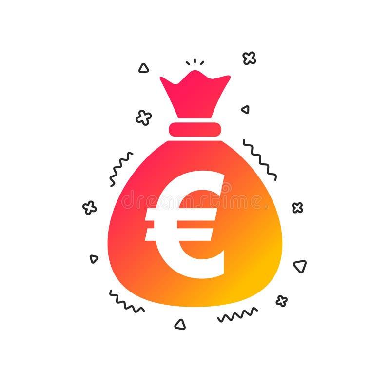 Geldtaschen-Zeichenikone Euro-EUR-Währung Vektor lizenzfreie abbildung