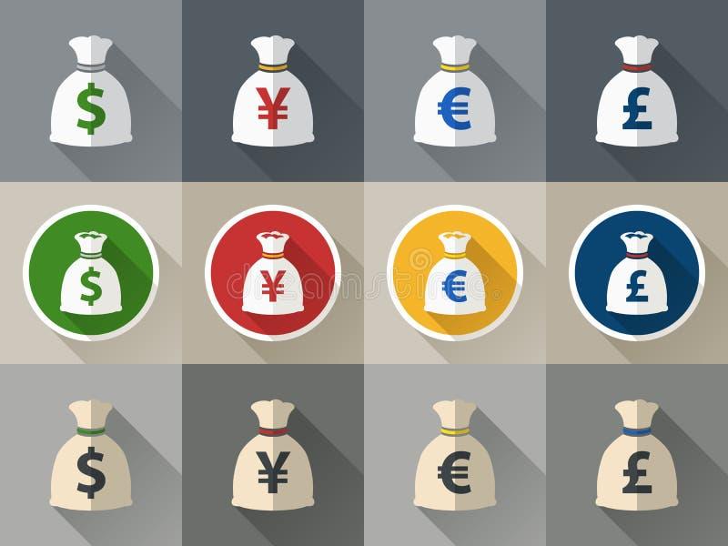 Geldtaschenikone eingestellt mit Währungszeichen vektor abbildung
