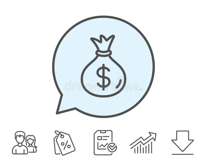 Geldtaschenlinie Ikone Bargeld-Bankwesenwährung stock abbildung