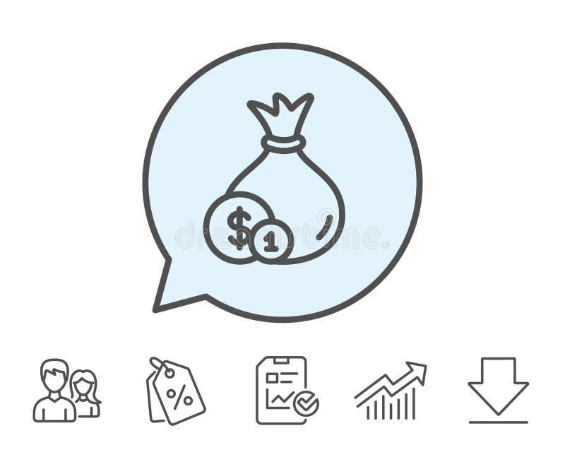 Geldtaschenlinie Ikone Bargeld-Bankwesenwährung lizenzfreie abbildung