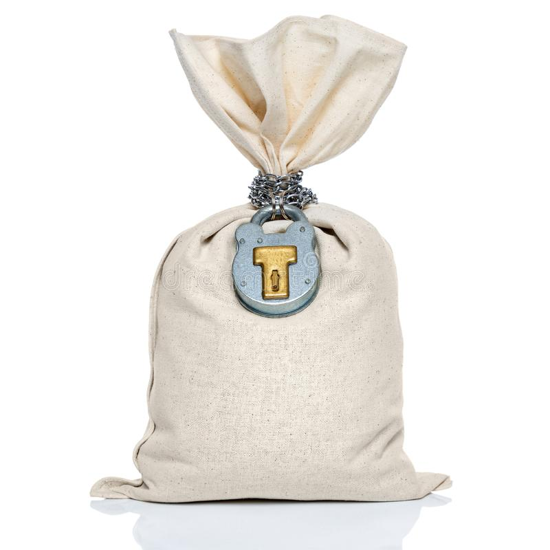 Geldtaschensack mit dem Vorhängeschloß lokalisiert auf Weiß lizenzfreies stockfoto