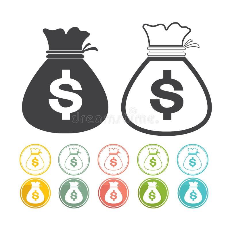 Geldtaschenzeichenikone Dollarwährung gesetztes Vektorschwarzes Gelb-Rosa gre lizenzfreie abbildung