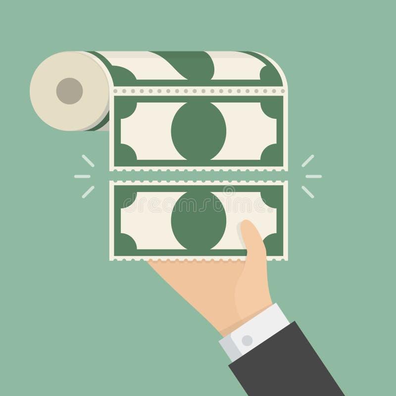 Geldtoiletpapier vector illustratie