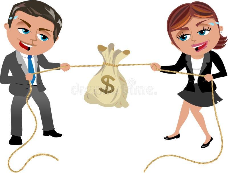 Geldtouwtrekwedstrijd royalty-vrije illustratie