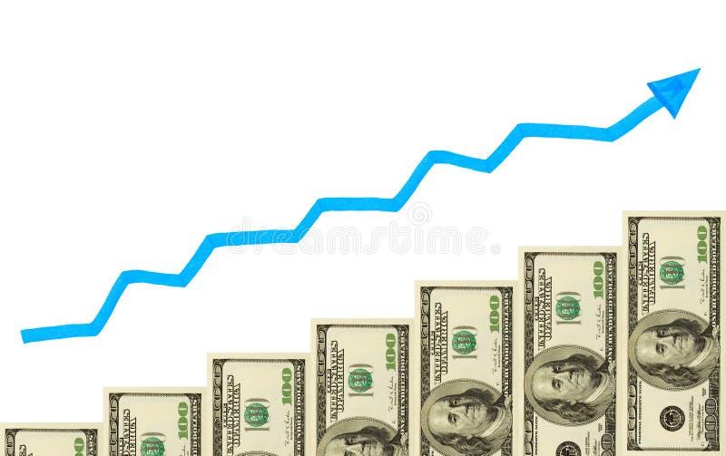 Geldtreppenhaus und -pfeil lizenzfreie stockbilder