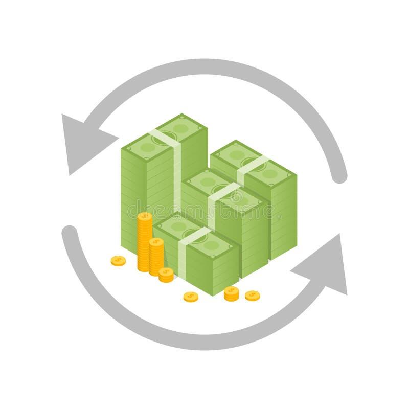 Gelduitwisseling en omzettingsconcept Vector illustratie stock illustratie