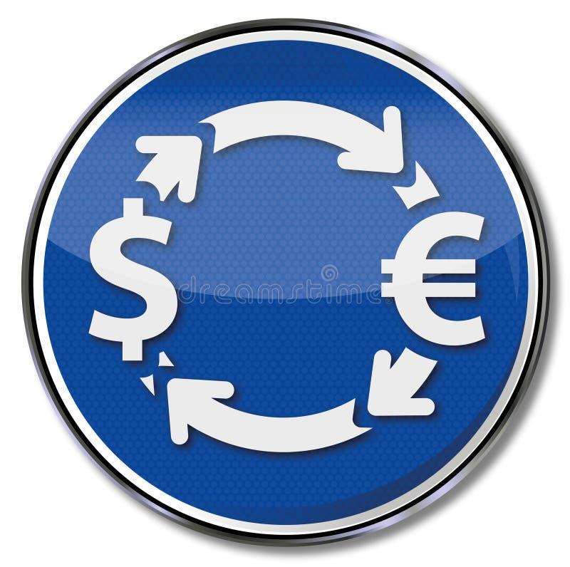 Gelduitwisseling in euro en dollars royalty-vrije illustratie