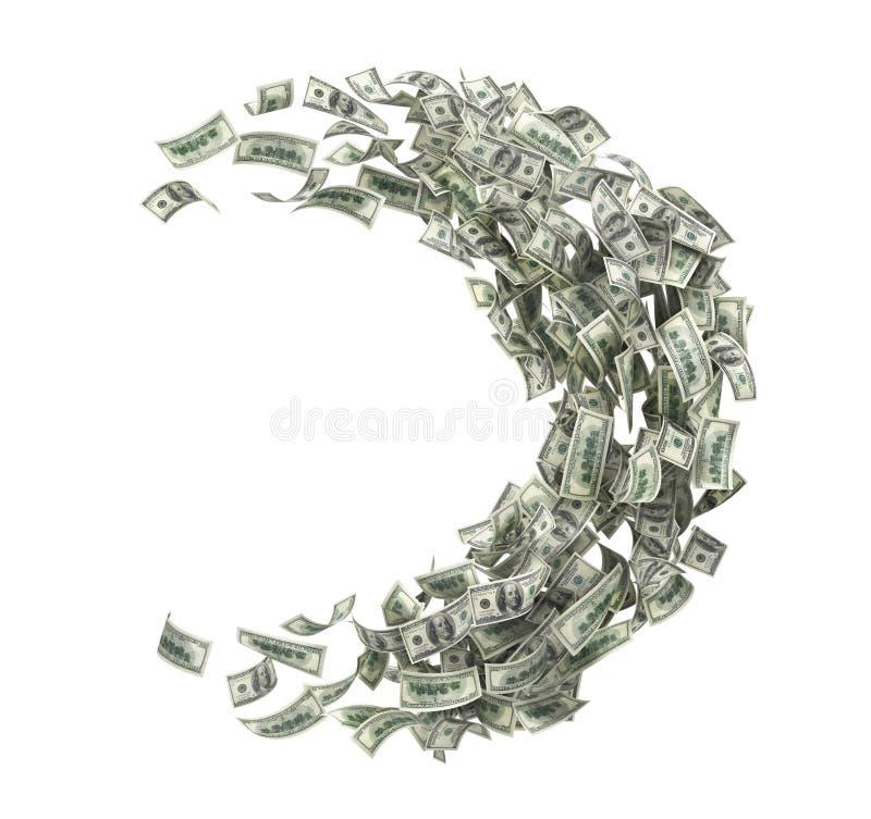 Geldumlauf Geldstrom in Form der Hälfte des Kreises vektor abbildung