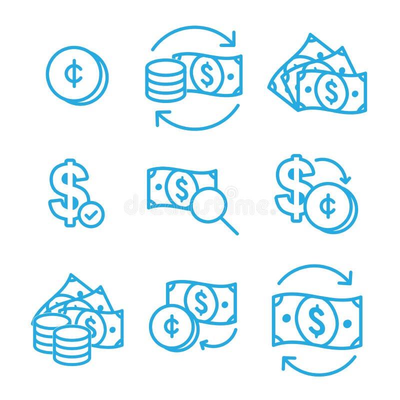 Geldumlauf/Geldwechselkursikone mit Dollarschein lizenzfreie abbildung