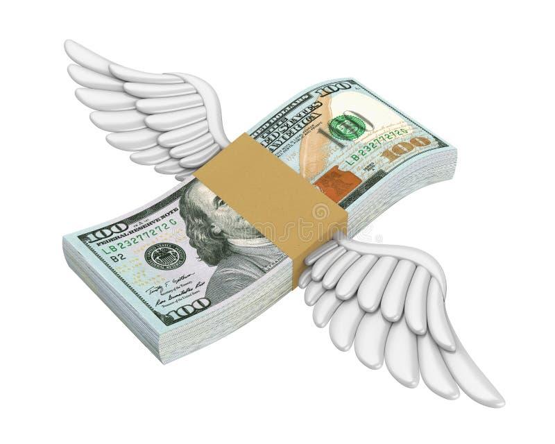 Geldvleugels Geïsoleerd Vliegen vector illustratie
