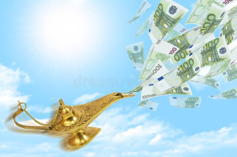 Geldvlieg uit de magische lamp van Aladdin vector illustratie