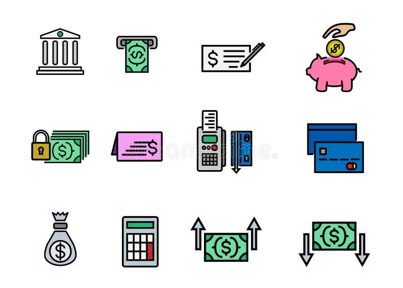 Geldzahlung und -bankwesen finanzieren Linien- und Farbikonenvektordesign für Netzmobile und APP vektor abbildung