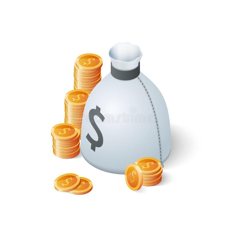 Geldzak en gouden die dollarmuntstukken op witte achtergrond wordt geïsoleerd Isometrische Vectorillustratie vector illustratie