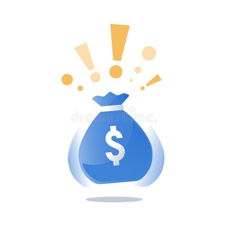 Geldzak met dollars, super prijs reusachtige zak contant geld, winnende grote loterij, casinopot, groot fonds royalty-vrije illustratie