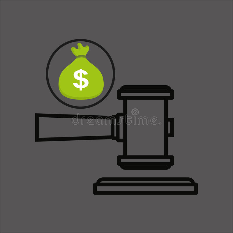 Geldzak met het pictogramontwerp van de rechtershamer royalty-vrije illustratie